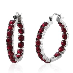 Stainless Steel Inside Out Hoop Earrings Made with SWAROVSKI Ruby Crystal