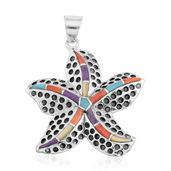 Santa Fe Style Multi Turquoise, Mother of Pearl Sterling Silver Starfish Pendant without Chain TGW 1.00 cts.