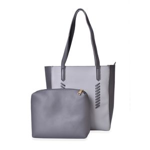 Gray Set of 2 Faux Leather Tote (14.5x4x14 in) and Matching Pouch (11.5x9.5 in)