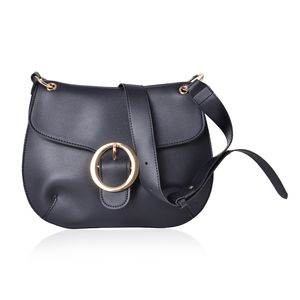 Black Faux Leather Crossbody Saddle Bag (11x8 in)