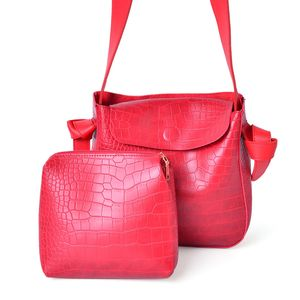 Red Crocodile Embossed Faux Leather Set of 2 Handbag (9.6x3.2x9.2 in)