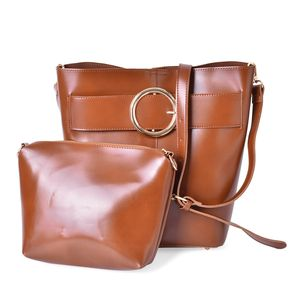 Brown Faux Leather Set of 2 Handbag (13x8.7x11 in) with Removable Shoulder Strap