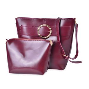 Burgundy Faux Leather Set of 2 Handbag (13x8.7x11 in) with Removable Shoulder Strap