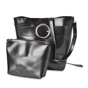 Black Faux Leather Set of 2 Handbag (13x8.7x11 in) with Removable Shoulder Strap