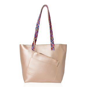 Golden Faux Leather Multi Color Tribal Print Strap Tote with Matching Removable Wristlet (15.5x5.5x11.5 in)