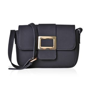 Black Faux Leather Fold Over Buckle Sling Bag (9.5x2.5x7 in)