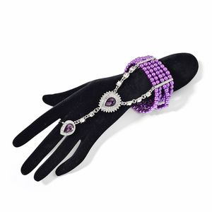 Simulated Purple Pearl, Austrian Crystal, Purple Glass Silvertone Linked Bracelet (Stretchable) with Ring (Adjustable)