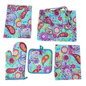 Multi Color Paisley Pattern 65% Cotton and 35% Polyester Kitchen Set in a Bag (Apron, Glove, Pot Holder and Kitchen Towel)
