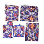 Baroque Print 65% Cotton and 35% Polyester Kitchen Set- Apron, Kitchen Towel, Pot Holder and Oven Mitt with Matching Bag