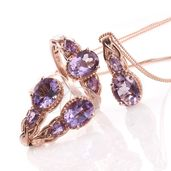 Rose De France Amethyst 14K RG Over Sterling Silver Earrings, Ring (Size 6) and Pendant With Chain (20 in) TGW 7.70 cts.