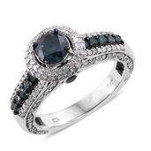 Blue Diamond (IR), Diamond Platinum Over Sterling Silver Royal Ring (Size 6.0) TDiaWt 2.50 cts, TGW 2.50 cts.