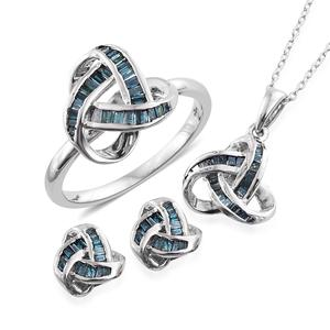Blue Diamond (IR) Platinum Over Sterling Silver Knotted Earrings, Ring (Size 6) and Pendant With Chain (20 in) TDiaWt 1.00 cts, TGW 1.00 cts.