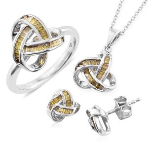 Yellow Diamond (IR) Platinum Over Sterling Silver Knotted Earrings, Ring (Size 6) and Pendant With Chain (20 in) TDiaWt 1.00 cts, TGW 1.00 cts.