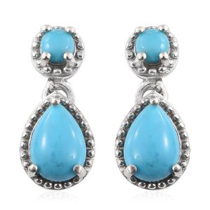 Arizona Sleeping Beauty Turquoise Platinum Over Sterling Silver Dangle Earrings TGW 1.66 cts.