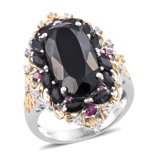 Australian Black Tourmaline, Multi Gemstone 14K YG and Platinum Over Sterling Silver Elongated Ring (Size 7.0) TGW 12.87 cts.