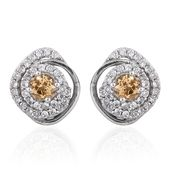 Imperial Topaz, Cambodian Zircon Platinum Over Sterling Silver Ear Jacket Earrings TGW 1.15 cts.