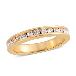 Austrian Crystal Goldtone Channel Eternity Band Ring (Size 5.0)