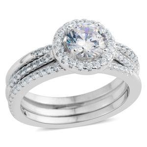 Simulated Diamond Silvertone Set of 3 Ring (Size 6.50) TGW 2.21 cts.