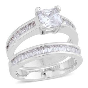 Simulated Diamond Silvertone Ring with Guard Set (Size 8) TGW 2.78 cts.