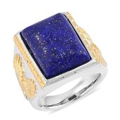 Lapis Lazuli ION Plated YG and Stainless Steel Men's Ring (Size 9.0) TGW 10.00 cts.