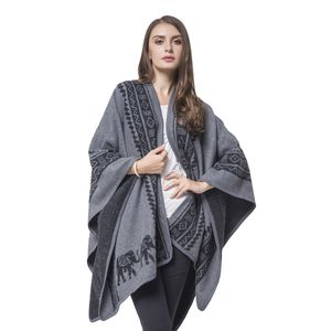 Gray and Black Elephant Pattern 100% Acrylic Blanket Wrap (42.52x31.5 in)