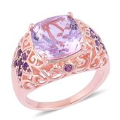 Rose De France Amethyst, Amethyst 14K RG Over Sterling Silver Statement Ring (Size 7.0) TGW 7.25 cts.