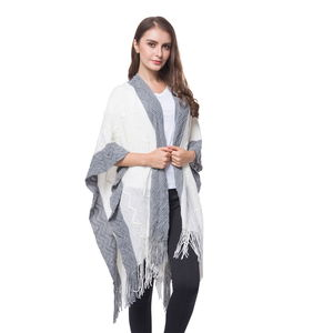 Grey and White 100% Acrylic Open Front Knitted Kimono (35.43x39.37 in)