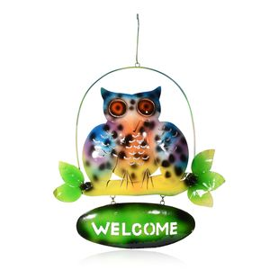 Multi Color Iron Hanging Owl with Welcome Board (14.17x1.57x19.29 in)
