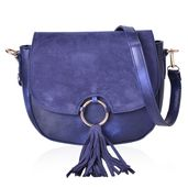 Navy Faux Leather Saddle Bag (9.5x3x7 in) with Tassel and Removable Strap (52 in)