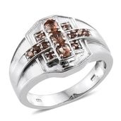 Jenipapo Andalusite Platinum Over Sterling Silver Men's Ring (Size 13.0) TGW 0.94 cts.