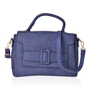 Navy Faux Leather Satchel Bag (11.2x4.4x8.4 in)