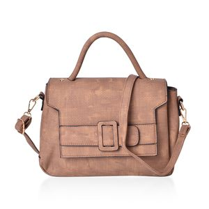 Tan Faux Leather Satchel Bag (11.2x4.4x8.4 in)