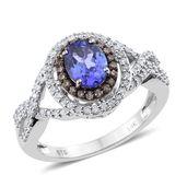 14K WG Premium AAA Tanzanite, Champagne Diamond, Diamond Split Ring (Size 7.0) TDiaWt 0.56 cts, TGW 1.96 cts.