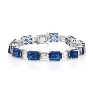 Doorbuster Brazilian Azul Quartz, White Topaz Platinum Over Sterling Silver Statement Bracelet (7.50 In) TGW 47.60 cts.