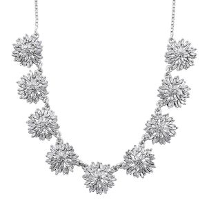 Doorbuster Diamond Platinum Over Sterling Silver Snowflake Magic Ball Necklace (18 in) TDiaWt 2.00 cts, TGW 2.00 cts.