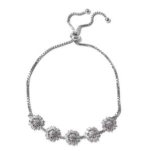 Doorbuster Diamond Platinum Over Sterling Silver Snowflake Magic Ball Bracelet (Adjustable) TDiaWt 1.00 cts, TGW 1.00 cts.