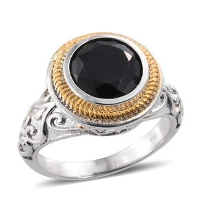 Thai Black Spinel ION Plated YG and Stainless Steel Ring (Size 7.0) TGW 4.95 cts.
