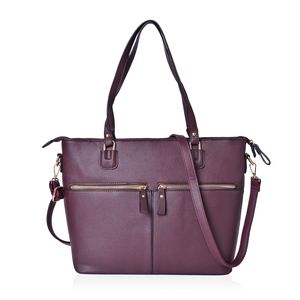 Burgundy Faux Leather Tote Bag with Double Handles and Removable Shoulder Strap (15.4x13x11.2 in)