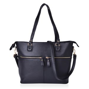 Black Faux Leather Tote Bag with Double Handles and Removable Shoulder Strap (15.4x13x11.2 in)