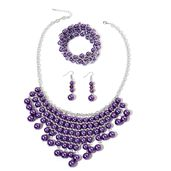 Simulated Purple Pearl, Purple Glass Silvertone & Stainless Steel Bracelet (Stretchable), Earrings and Bib Necklace (20.00 In)