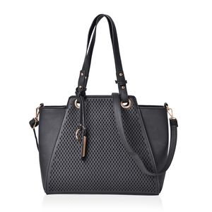 Black Laser Cut Faux Leather Tote Bag with Removable Key and Shoulder Strap (14x4x10.5 in)