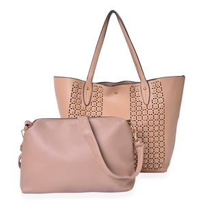 Khaki Faux Leather Studded Handbag (18x4x13 in) and Almond Pouch (12x2.5x9 in) with Removable Shoulder Strap (50 in)