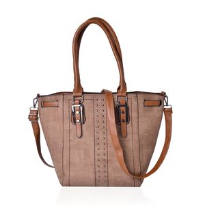 Brown Faux Leather Studded Tote Bag with Standing Studs and Removable Strap (16x7x11 in)