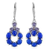 Ceruleite, Catalina Iolite Platinum Over Sterling Silver Lever Back Earrings TGW 4.48 cts.