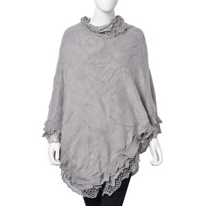 Gray 100% Acrylic Triple Lace Turtleneck V-Shape Poncho (One Size)