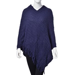 Royal Blue 100% Acrylic Wave Knitting Pattern V Neckline Poncho (35.43x31.49 in)