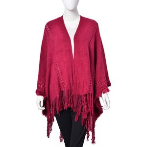Garnet 100% Acrylic Open Front Kimono (47.24x59 in) with Fringe