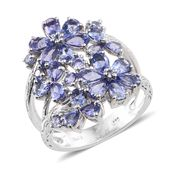 Tanzanite Platinum Over Sterling Silver Openwork Floral Split Ring (Size 7.0) TGW 4.54 cts.