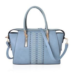 Seafoam Laser Cut Design Faux Leather Structure Bag with Standing Studs and Removable Strap (15x12x9.5 in)