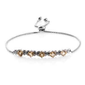 Brazilian Citrine Stainless Steel Magic Ball Floral Bar Bracelet (Adjustable) TGW 2.50 cts.